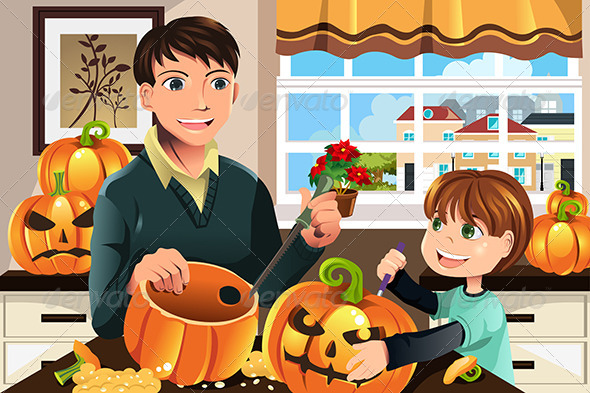 GraphicRiver Father and Son Carving Pumpkins 5834360