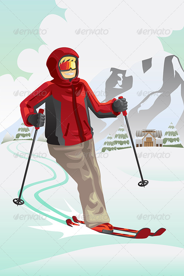 GraphicRiver Skier in the Mountain 5834393