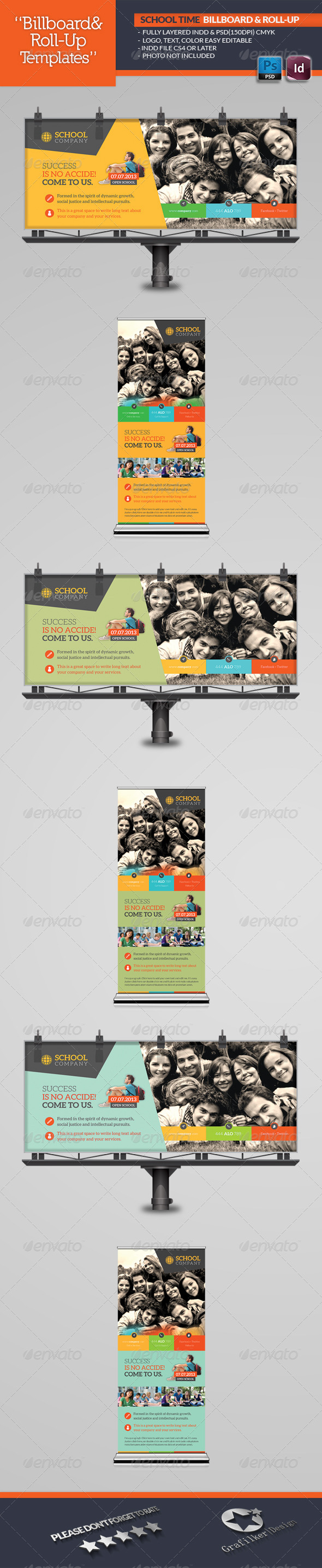 School Time Billboard Roll-Up Template - Signage Print Templates