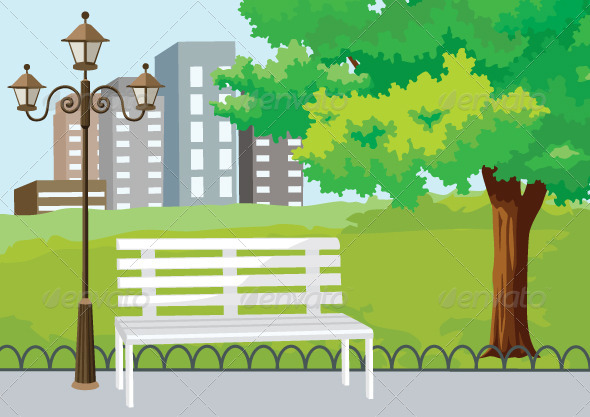 GraphicRiver Public Park in The City Vector Background 5834825