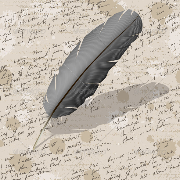 GraphicRiver Background with Hand Writing and Feather 5834972