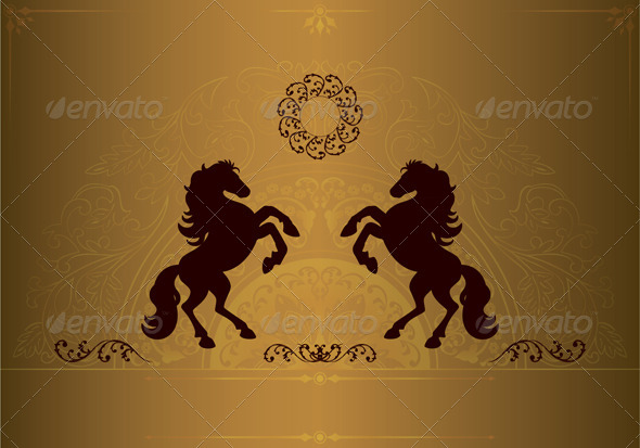 GraphicRiver Horse Silhouette on Vintage Floral Background 5835501