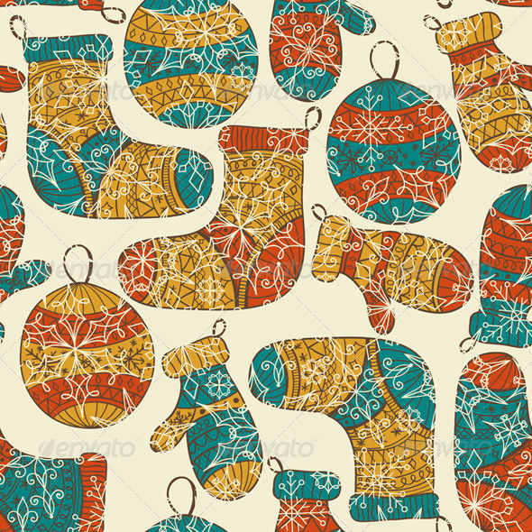 GraphicRiver Vector Seamless Winter Christmas Pattern 5835870