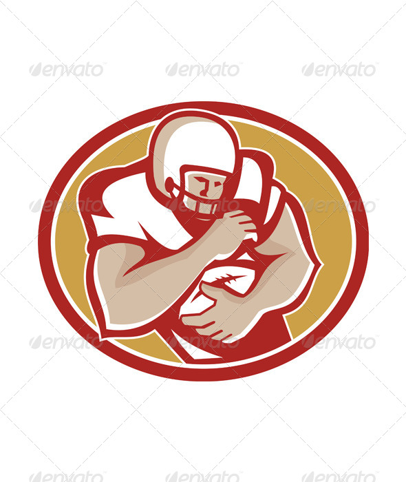 GraphicRiver American Football Running Back Oval Retro 5836006