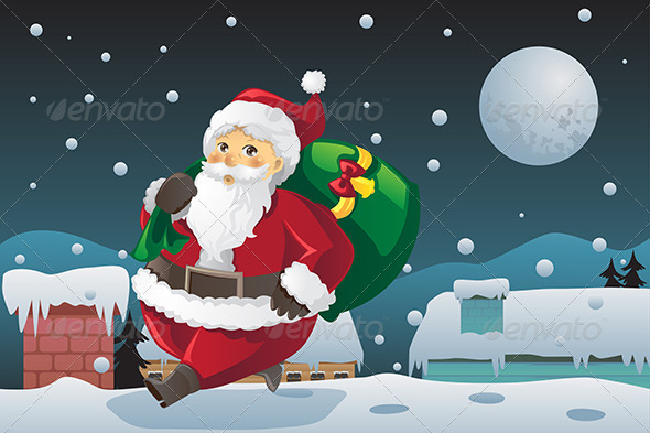 GraphicRiver Santa Claus Carrying Christmas Presents 5836011