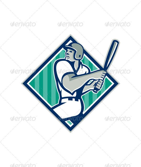 GraphicRiver Retro Baseball Batting Diamond 5836055
