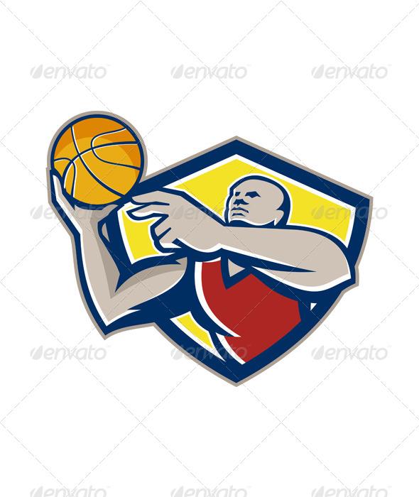 GraphicRiver Basketball Player Laying Up Ball Retro 5836100