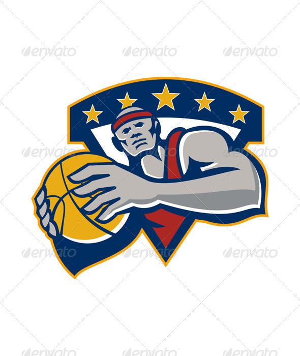 GraphicRiver Basketball Player Holding Ball Star Retro 5836139