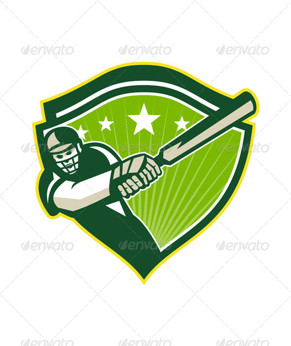 GraphicRiver Retro Cricket Player Batsman Star Crest 5836145