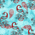 Seamless Winter Pattern with Peacocks - PhotoDune Item for Sale