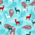 Seamless Winter Pattern with Deers - PhotoDune Item for Sale