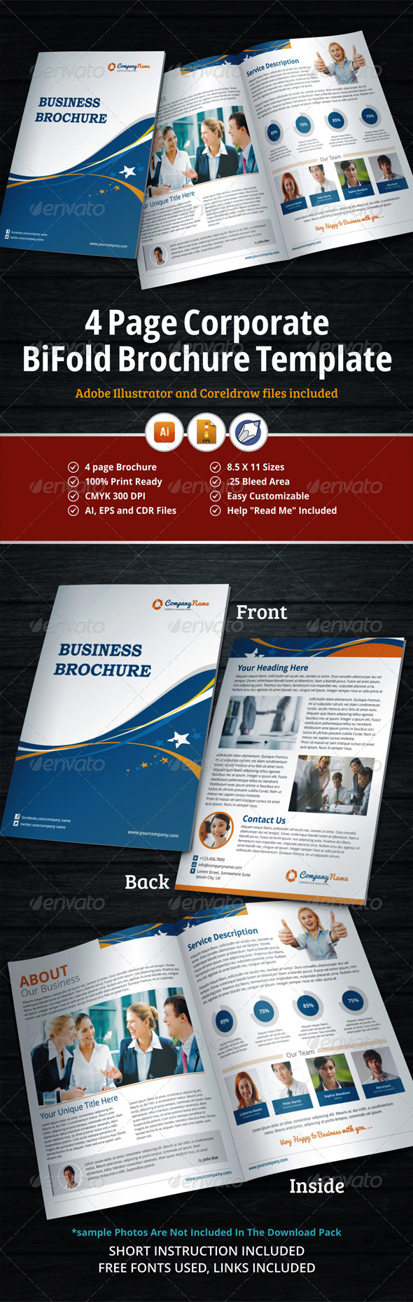 GraphicRiver 4 Page Corporate BiFold Brochure Template 5739660