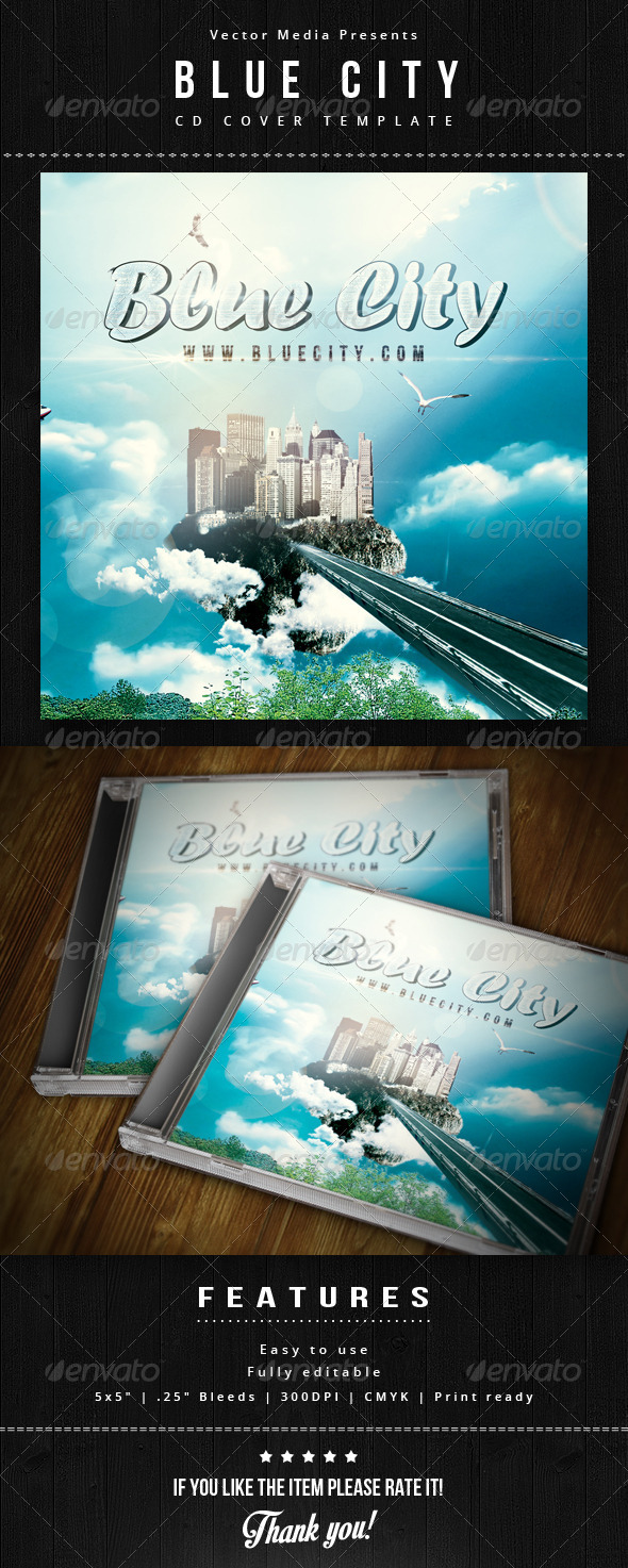 GraphicRiver Blue City Cd Cover 5837172