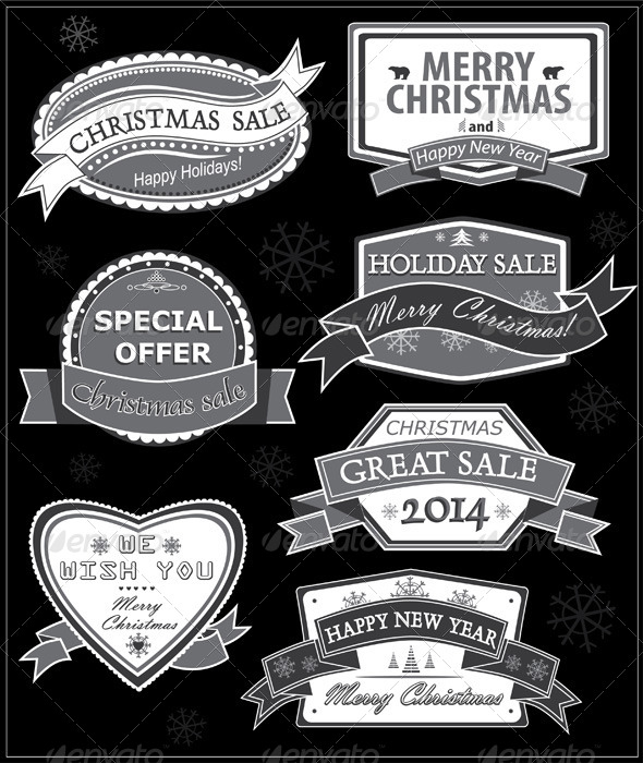 GraphicRiver Christmas Labels on a Black Background 5837258