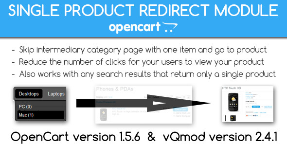Single Product Redirect Module for OpenCart vQmod