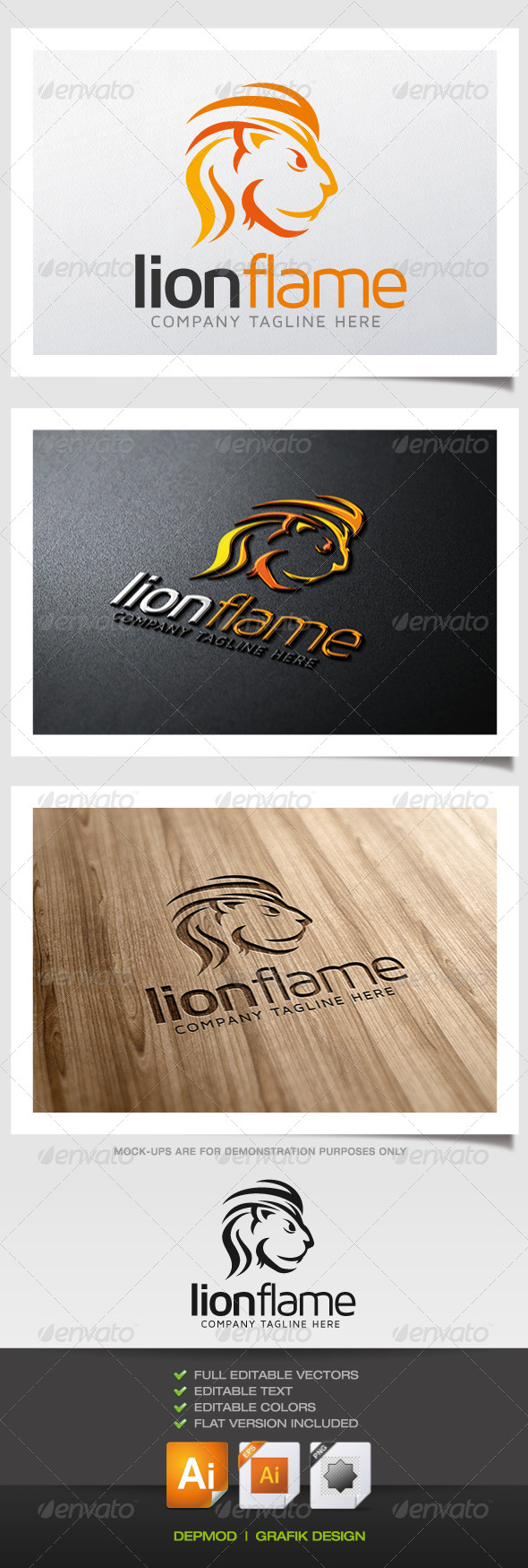 GraphicRiver Lion Flame Logo 5838133