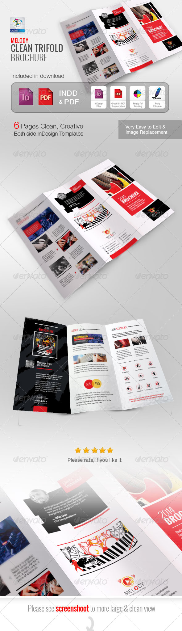 GraphicRiver Melody Clean Trifold Brochure 5838573
