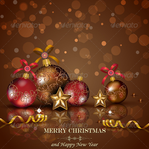 GraphicRiver Christmas Decorations on Chocolate Background 5838582