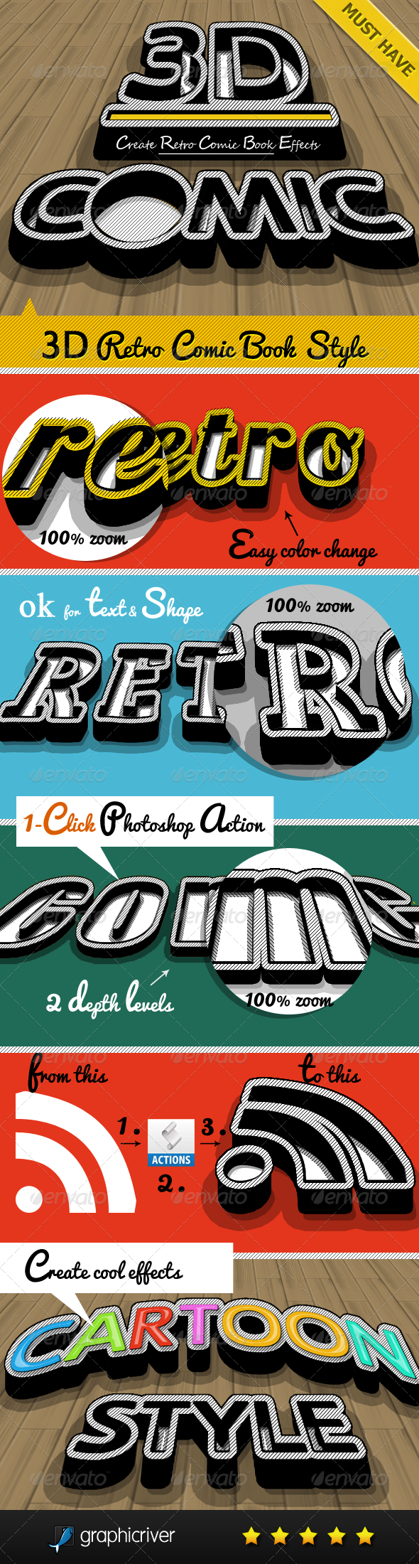 3D Retro Comic Book Photoshop Maker - Text Effects Actions