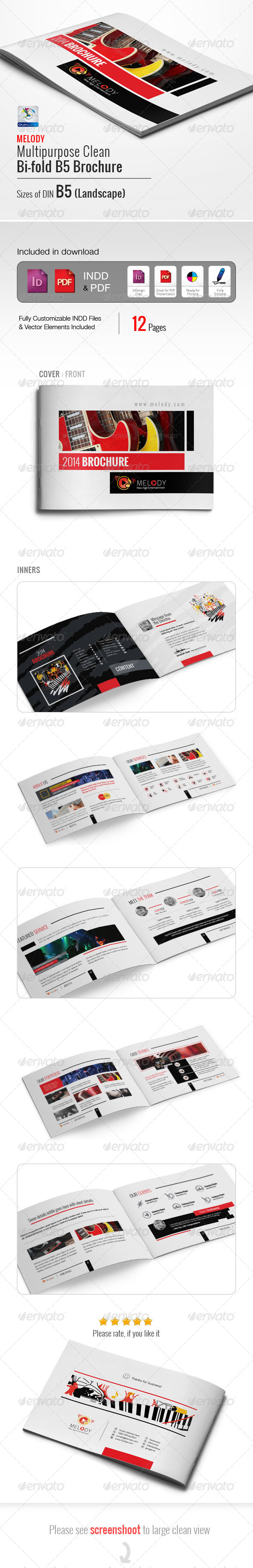 GraphicRiver Melody Clean Multipurpose B5 Brochure 5838754