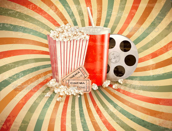 GraphicRiver Retro Background with Popcorn and a Drink 5833737