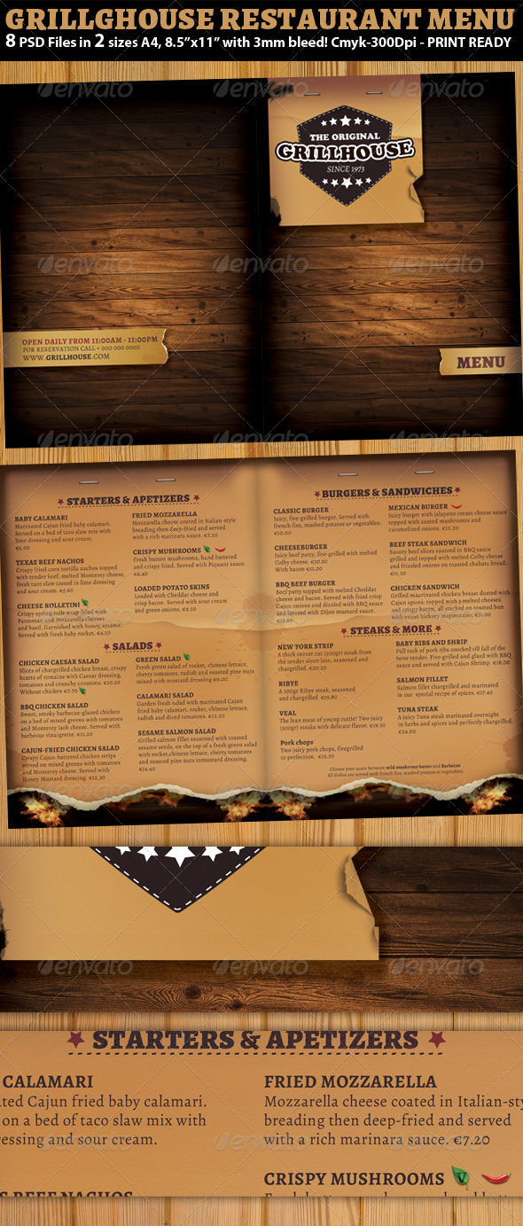GraphicRiver Grill Restaurant Menu Template 5840098
