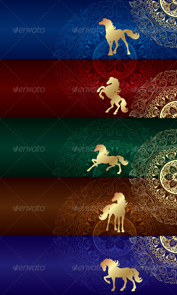 GraphicRiver Horse Silhouette on Floral Background Set 5840116