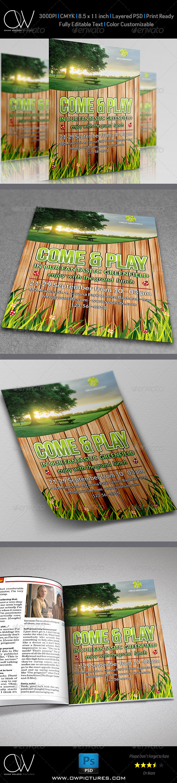 GraphicRiver Green field Flyer Template 5840623