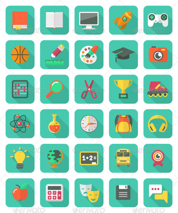 GraphicRiver Flat Education and Leisure Icons Set 5840928