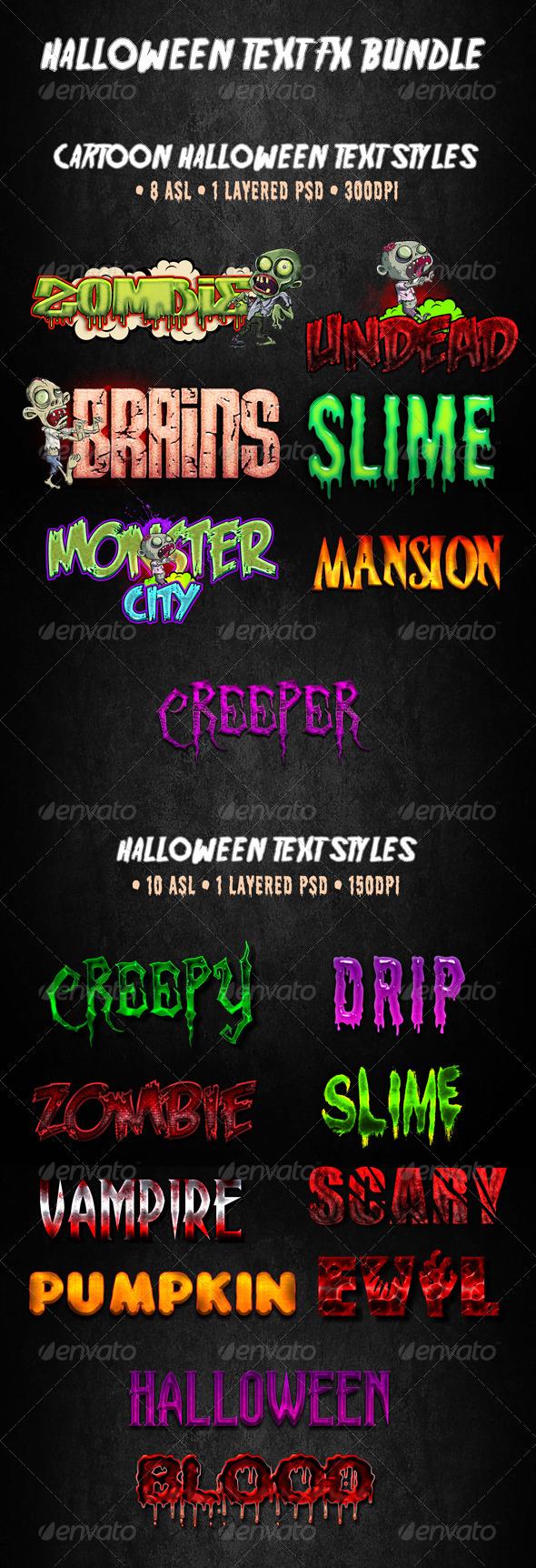 GraphicRiver Halloween Text FX Bundle 5840961