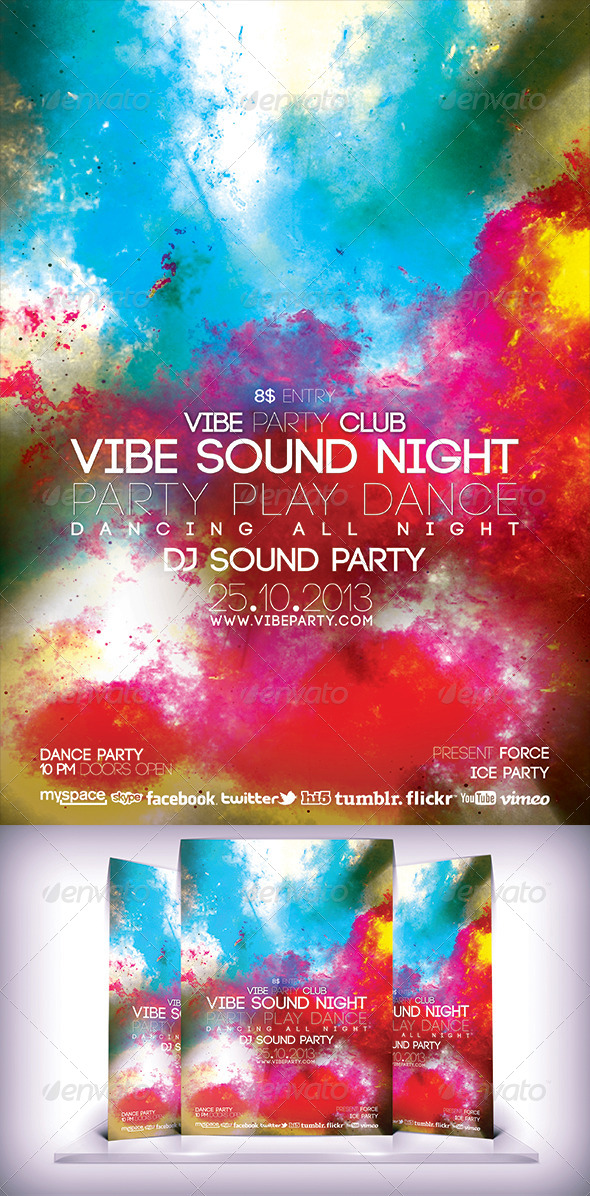 GraphicRiver Vibe Sound Night Flyer 5841017
