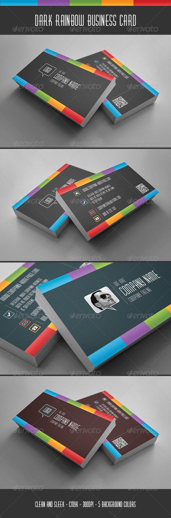 GraphicRiver Dark Rainbow Business Card 5841026