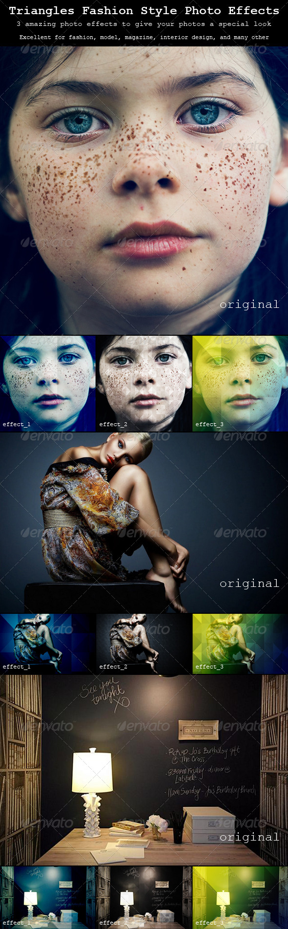 Triangles Fashion Style Photo Effects - Photo Effects Actions