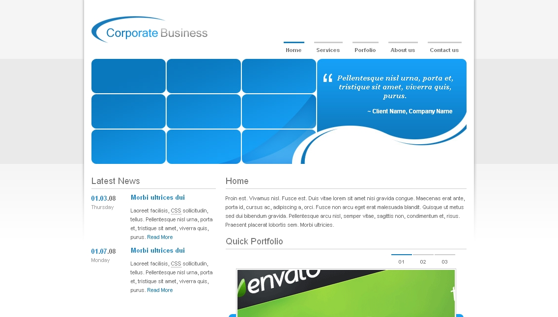 Corporate Company - Clean Business Template - Clean Business Template - Homepage of blue version. Coda slider in the Quick Portfolio Section
