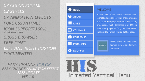 CodeCanyon His Animated Vertical Menu 5841605