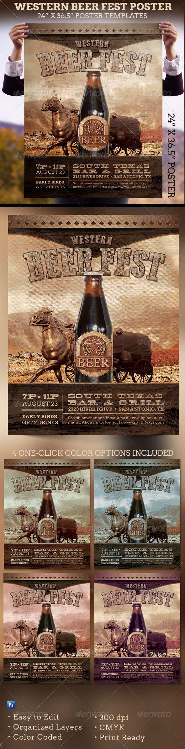 Western Beer Fest Poster Template - Signage Print Templates