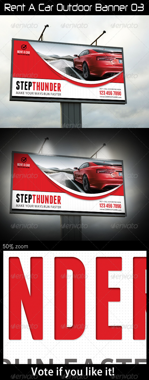 Rent A Car Outdoor Banner 03 - Signage Print Templates