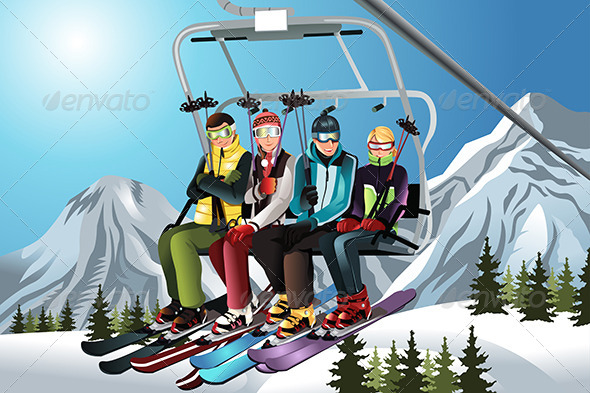GraphicRiver Skiers on the Ski Lift 5841833