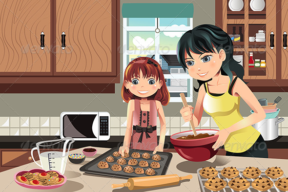GraphicRiver Mother Daughter Baking Cookies 5841843