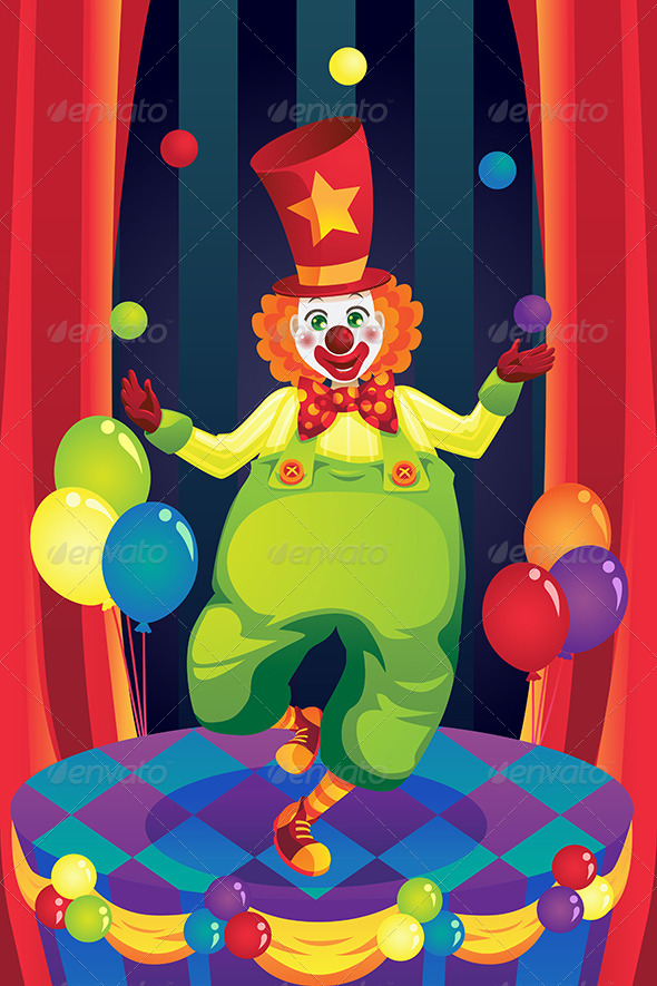 GraphicRiver Clown on Stage 5841855