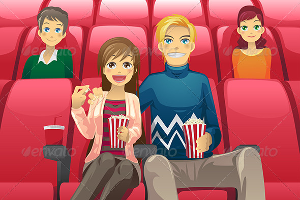 GraphicRiver Couple Watching Movie 5841926