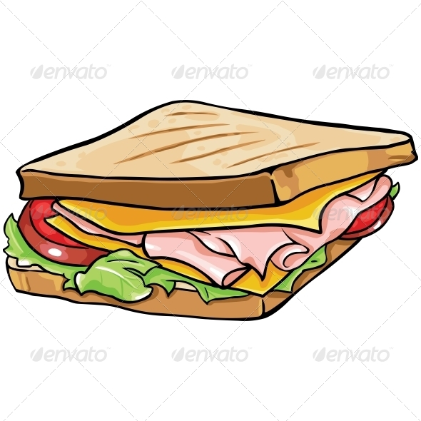 GraphicRiver Vector Cartoon Sandwich with Ham and Vegetables 5841947