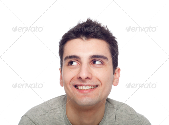 Casual man looking up - Stock Photo - Images