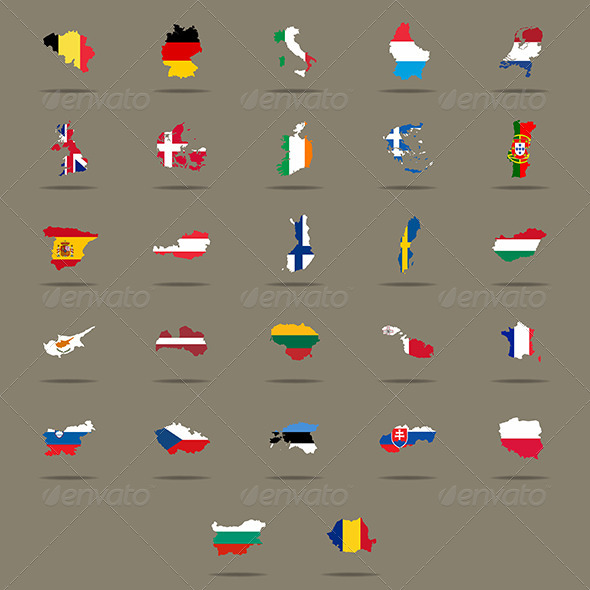 European Union Country Flags Set