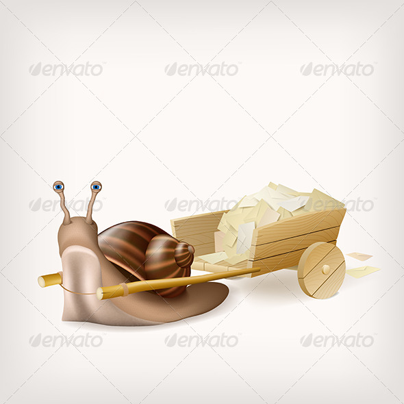 Snail with the Cart with Mail