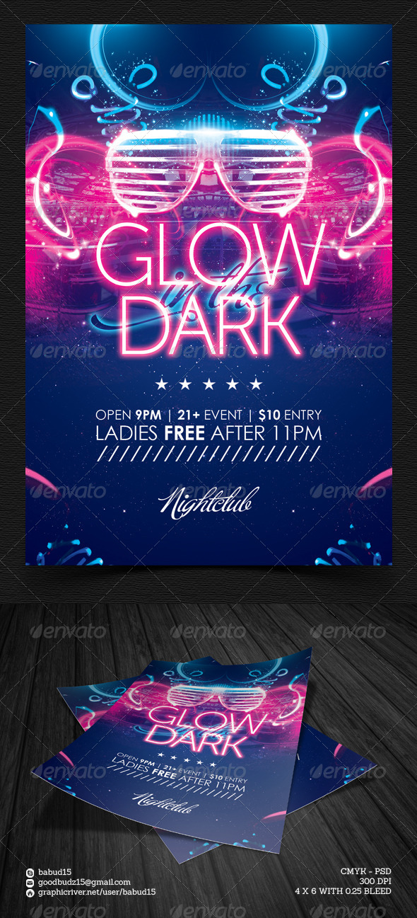 GraphicRiver Glow in the Dark Flyer Template 5843061