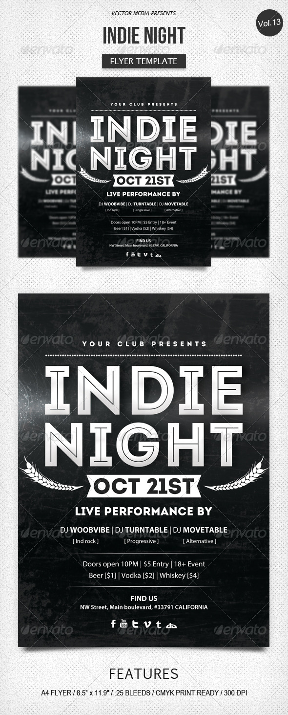 GraphicRiver Indie Night Flyer [Vol.13] 5843716