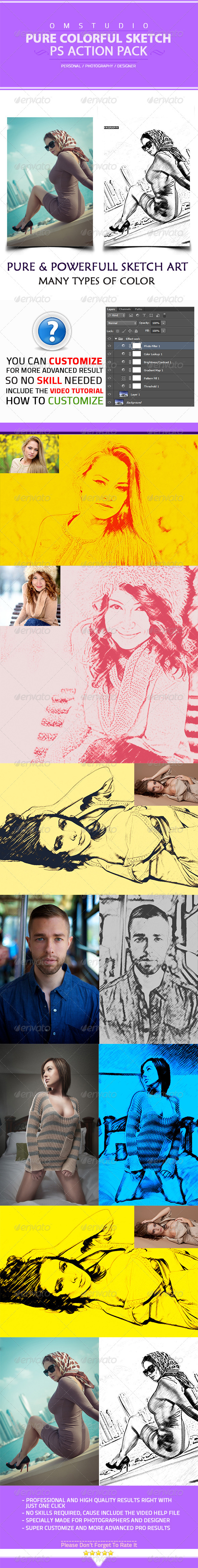 GraphicRiver Pure Colorful Sketch Art Photoshop Action 5843903