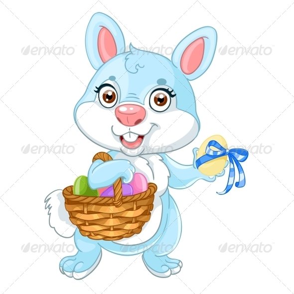 GraphicRiver Easter Bunny with Basket of Eggs 5844059