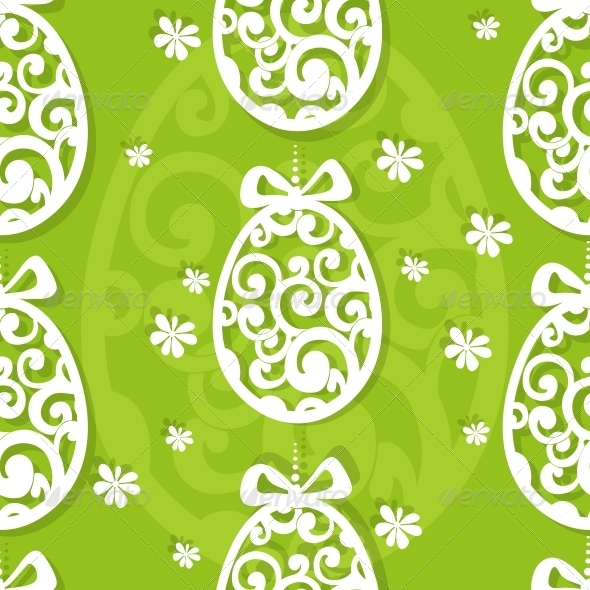 Easter Egg Openwork Appliques Seamless Background